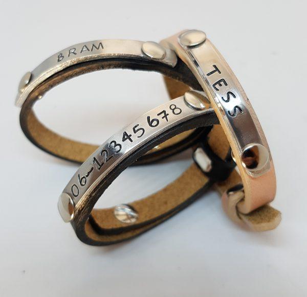Kinder armband met naam of telefoonnummer