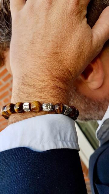 Tijgeroog armband met boedha bedel